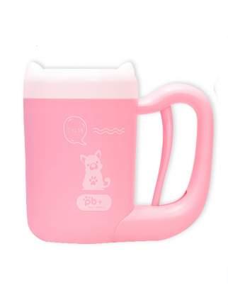 Лапомойка для собак Pb+ пластик, силикон, белый, розовый, высота 17 см