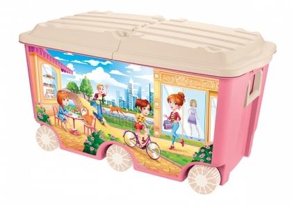 Ящик для игрушек на колесах с декором, 66,5 литра, 685x395x385 мм (розовый)