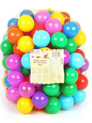 Шарики для сухого бассейна Крошка Я диаметр шара 7,5 см, набор 150 штук, разноцветные