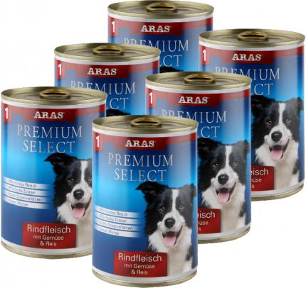 Консервы для собак № 1 Aras  Говядина, овощи, рис, 6 шт по 410 г