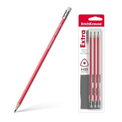 Чернографитный трехгранный карандаш с ластиком ErichKrause® Extra HB блистер 3