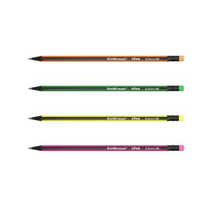 Чернографитный трехгранный карандаш с ластиком ErichKrause® VIVO® HB коробка 12