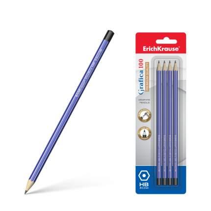 Чернографитный шестигранный карандаш ErichKrause® Grafica 100 HB блистер 4