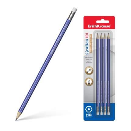 Чернографитный шестигранный карандаш с ластиком ErichKrause® Grafica 101 HB блистер 4