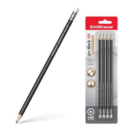 Чернографитный шестигранный карандаш с ластиком ErichKrause® Jet Black 101 HB блистер 4