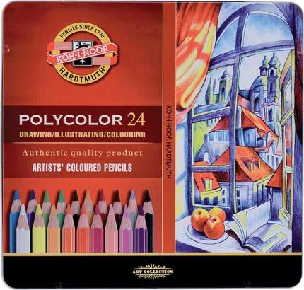 Набор карандашей цветных POLYCOLOR, металлическая упаковка, 24 цв.