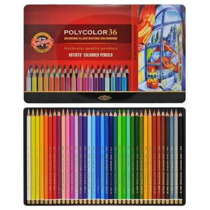 Набор карандашей цветных POLYCOLOR, металлическая упаковка, 36 цв.