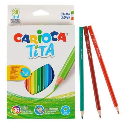 Набор карандашей цветных пластиковых Carioca Tita 36 цв, в картонной коробке с европодвесо