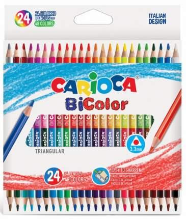 Набор цветных деревянных двусторонних карандашей СARIOCA BICOLOR 24 шт, 48 цв., в карт кор
