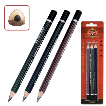 Набор чернографитных карандашей TRIOGRAPH, толстые трехгранные, 3 шт, твердость 2B, 4B, 6B