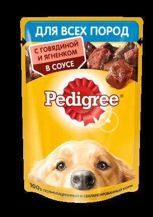 Влажный корм для собак Pedigree , говядина, ягненок, в соусе28шт, 85г
