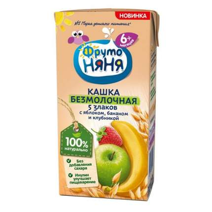 Каша Фрутоняня безмолочная пять злаков с яблоком, бананом и клубникой 0.2 л.