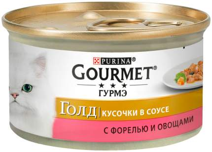 Консервы для кошек Gourmet Gold, с форелью и овощами в соусе, 24шт по 85г