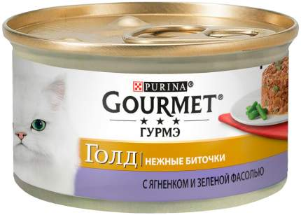 Консервы для кошек Gourmet Gold Нежные биточки, с ягненком и зеленой фасолью, 12шт по 85г