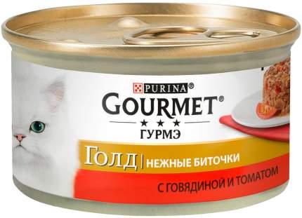 Консервы для кошек Gourmet Gold Нежные биточки, с говядиной и томатами, 12шт по 85г