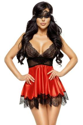 Соблазнительная сорочка Eve с кружевом черный, красный L/XL