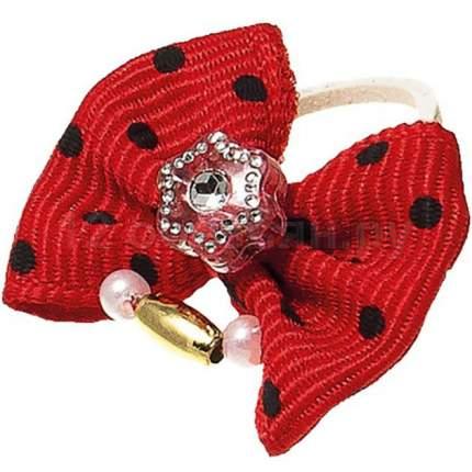 Бантик V.I.PET (пара) красный в черн. горошек (камень звезда + бусинки)