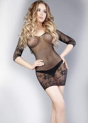 Черное платье-сетка с длинными рукавчиками