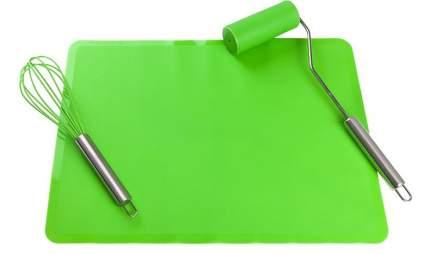 """Набор """"Венчик для взбивания. Коврик. Мини-скалка"""", зеленый, 40x30 см, 3 предмета"""