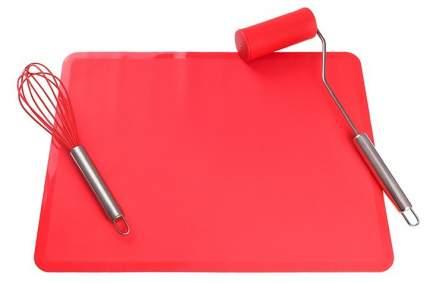 """Набор """"Венчик для взбивания. Коврик. Мини-скалка"""", красный, 40x30 см"""