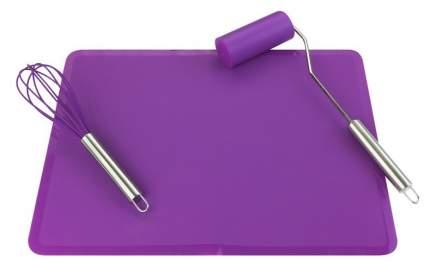 """Набор """"Венчик для взбивания. Коврик. Мини-скалка"""", фиолетовый, 40x30 см"""