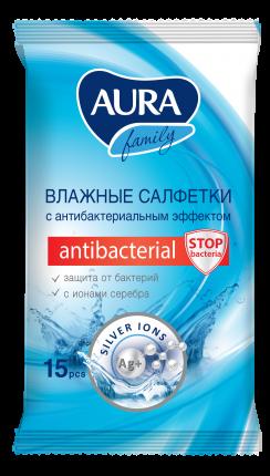 Влажные салфетки Aura Family с антибактериальным эффектом 15 шт