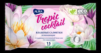Влажные салфетки Aura Tropic Cocktail 6035/5792 15 шт