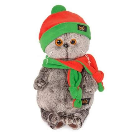 Мягкая игрушка BUDI BASA Басик в оранжево-зеленой шапке и шарфике, 30 см