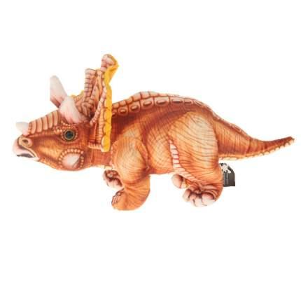 Мягкая игрушка АБВГДейка Динозавр Трицератопс коричневый, 35 см