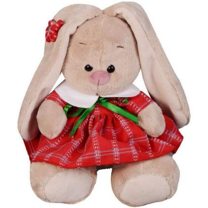 Мягкая игрушка BUDI BASA Зайка Ми в красном платье в клетку 15 см