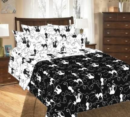 """Пододеяльник """"Котофей 1 черн."""" 2-спальный из Перкаля черно-белый с кошками"""