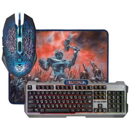 Комплект игровой клавиатура и мышь Defender Killing Storm MKP-013L + коврик (52013)