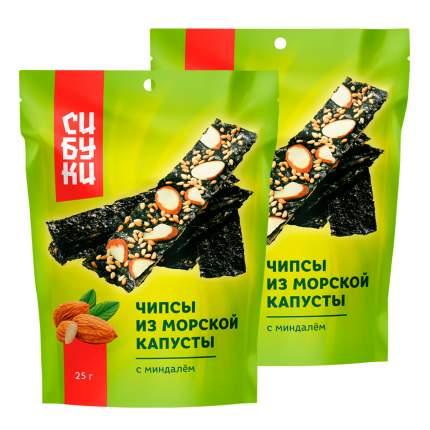 Чипсы из морской капусты Сибуки с миндалём, 25 г x 2 шт