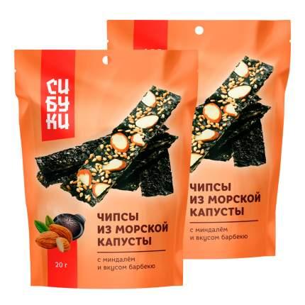 Чипсы из морской капусты Сибуки с миндалём и вкусом барбекю, 20 г x 2 шт