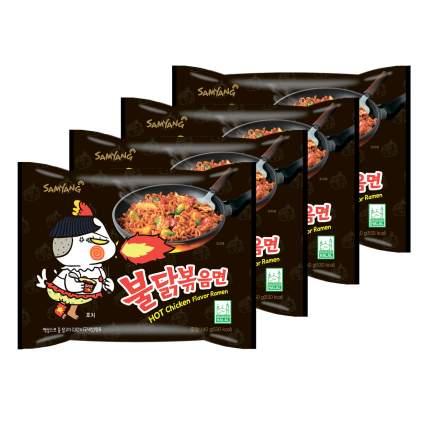 Лапша быстрого приготовления Hot Chicken острая курица Samyang, пачка 140 г х 4 шт