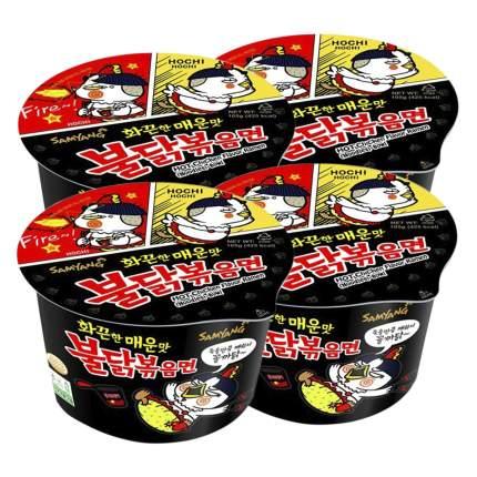 Лапша быстрого приготовления Hot Chicken острая курица Samyang, чашка 105 г х 4 шт