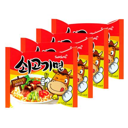 Лапша быстрого приготовления Sogokimyun со вкусом говядины Samyang, пачка 120 г х 4 шт