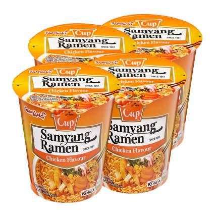 Лапша быстрого приготовления Ramen со вкусом курицы Samyang, стакан 65 г х 4 шт