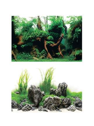 Фон для аквариума Barbus Зеленый рай, плотный, двухсторонний, 30 x 62 см