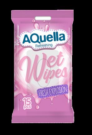 Влажные салфетки AQUELLA для всей семьи с антибактериальным эффектом pocket-pack 15шт