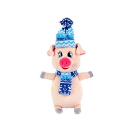 Мягкая игрушка Играем Вместе Поросенок в синем шарфе и шапке, 17 см