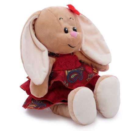 Мягкая игрушка СмолТойс Зайка Милашка в платье бордо с воланами, 30 см
