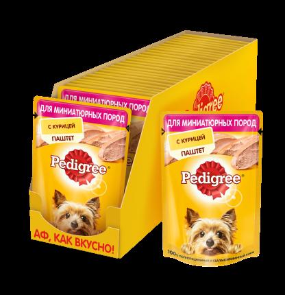 Влажный корм для собак Pedigree, паштет, курица, 24шт, 80г