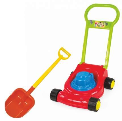 Игровой набор: Детская газонокосилка (15-10631)+ лопата двухцветная 66 см. (16-10292)