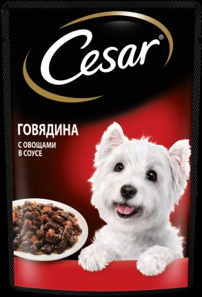 Влажный корм для собак Cesar , говядина, овощи, в соусе, 28шт, 85г