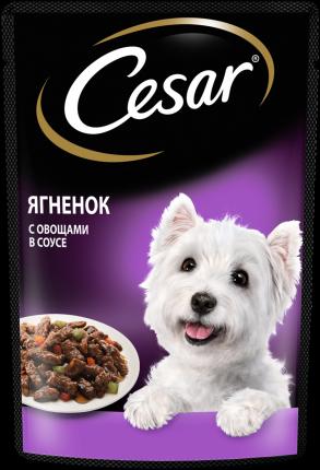 Влажный корм для собак Cesar , ягненок, овощи, в соусе, 28шт, 85г
