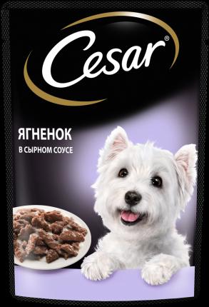 Влажный корм для собак Cesar , ягненок, сыр, 28шт, 85г