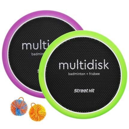 """Игра Мультидиск """"Street Hit"""" Крафт Maxi (Бадминтон+Фрисби), 40 см, зелено-фиолетовый"""