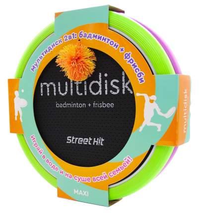 """Игра Мультидиск """"Street Hit"""" Премиум Maxi (Бадминтон+Фрисби), 40 см, зелено-фиолетовый"""