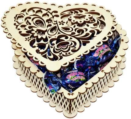 Конфеты чернослив Кремлина шоколадный в шкатулке сердце резное 400 г